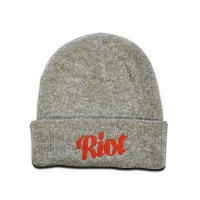 TRC Script Knitted Hat Heather Grey/Red
