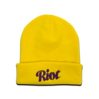 TRC Script Knitted Hat Yellow/Purple